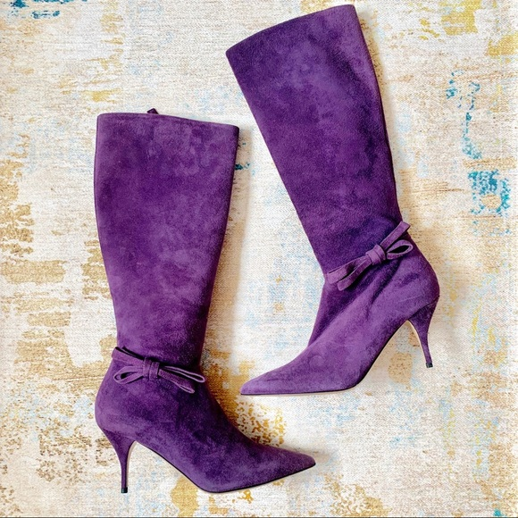 Valentino Purple  Suede Pointed Toe Low Heel Boot